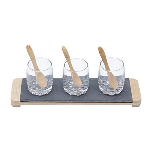 Conjunto Bandeja de Ardósia com 3 Molheiras de Vidro e 3 Colheres de Bambu Lyor Amadeirado/ Preto/ Transparente 26x8Cm