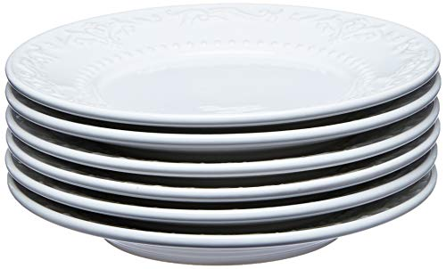 Conjunto Com 6 Pratos De Sobremesa Acanthus Branco
