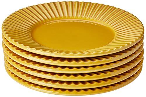 Conjunto Com 6 Pratos De Sobremesa Plissé Mostarda