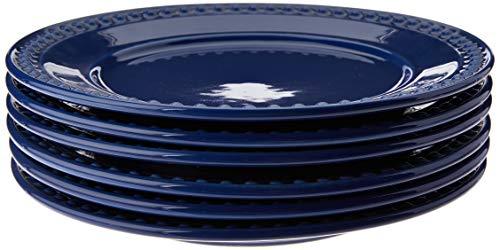 Conjunto Com 6 Pratos Raso Atenas Azul Navy