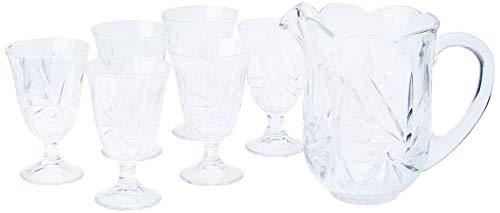 Conjunto com Jarra e 6 Taças de Cristal Prima Luxo Lyor Transparente 1.3L/240Ml