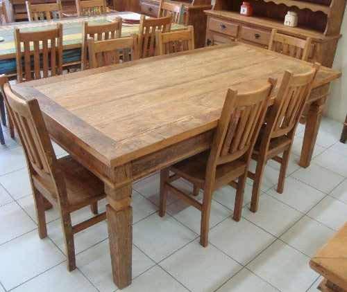 Conjunto De Mesa 2,0m Com 6 Cadeiras - Móvel Rústico