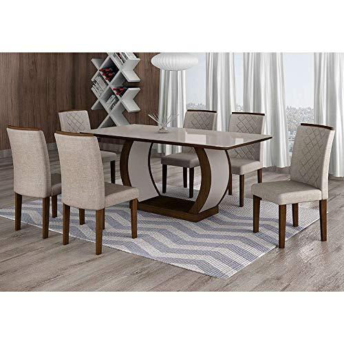 Conjunto de Mesa de Jantar com 6 Cadeiras Maia II Linho Castor e Cinza