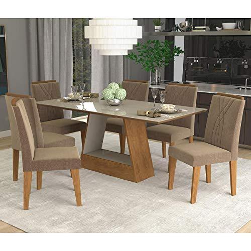 Conjunto de Mesa de Jantar Retangular Alana com 6 Cadeiras Nicole Suede Pluma e Off White
