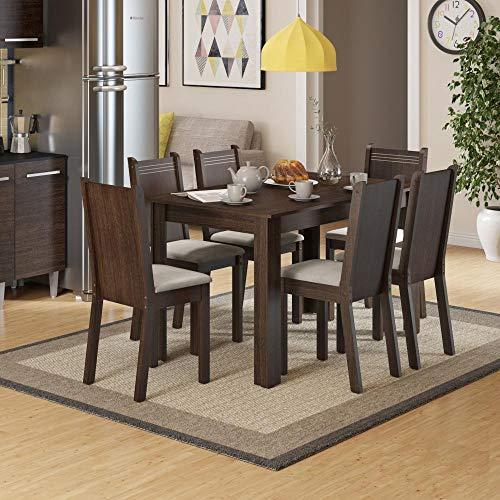 Conjunto Mesa de Jantar com 6 Cadeiras Maris Tabaco Madesa