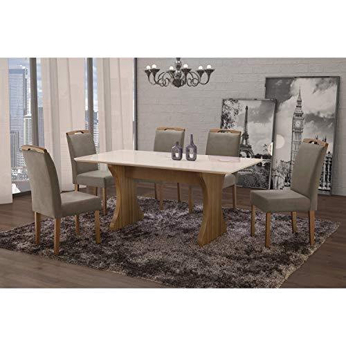 Conjunto Sala de Jantar em Madeira Maciça Mesa Milão Curva e 6 Cadeiras Priscila Siena Móveis Castanho/Suede 15