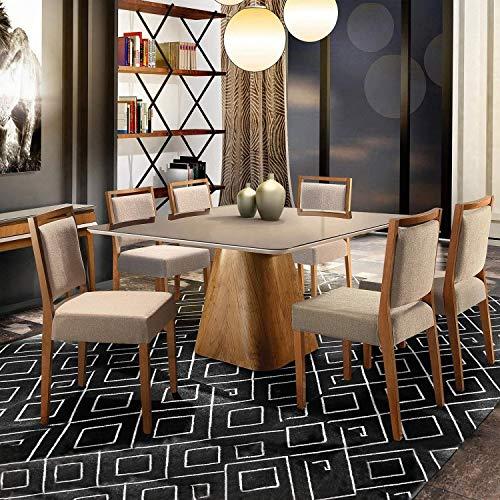 Conjunto Sala de Jantar Mesa 6 Cadeiras Concha Coral Matos e Lopes Cinamomo/Off White/Linho Terra