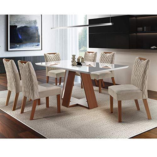 Conjunto Sala de Jantar Mesa 6 Cadeiras Grécia Chanfro Premium LJ Móveis Castanho/Bege