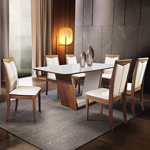 Conjunto Sala de Jantar Mesa 6 Cadeiras Milan Matos e Lopes Cinamomo/Off White/Linho Gelo