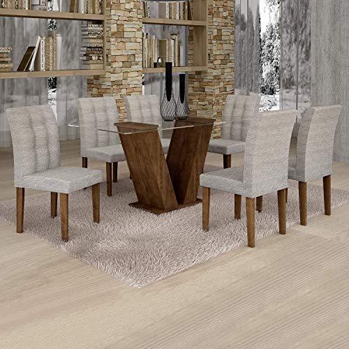 Conjunto Sala de Jantar Mesa Classic Tampo de Vidro 6 Cadeiras Vitória Cel Móveis Chocolate/Suede Cinza 90