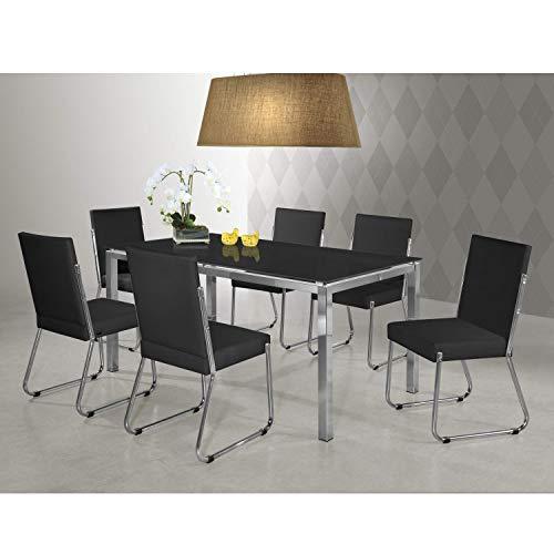 Conjunto Sala de Jantar Mesa Olívia 6 Cadeiras Siena Móveis Preto