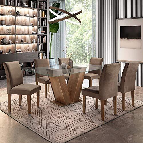 Conjunto Sala de Jantar Mesa Tampo de Vidro 6 Cadeiras Classic Cel Móveis Chocolate/Animale Marrom 52