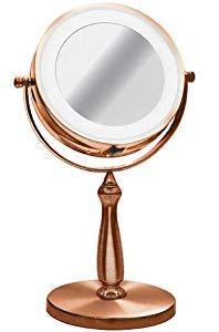 Espelho De Mesa Bronze Luz Led Aumento 5x Zoom Maquiagem 15cm