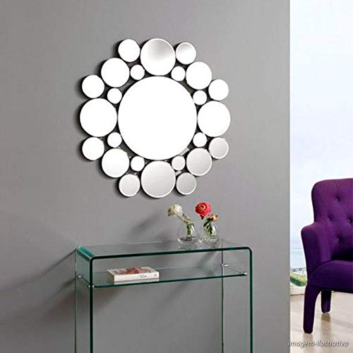 Espelho Decorativo Círculos Moderno Médio 40x40 cm