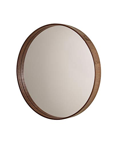 Espelho Redondo Com Moldura De Madeira Imbuia Base