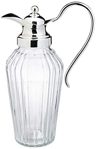 Jarra De Vidro C/tampa De Zamac Silver Plated Alepo 1,5l Lyor Prata E Transparente