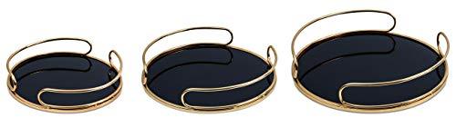 Kit Bandeja Dourada Em Metal Com Espelho Preto 3 Peças Mart Dourado