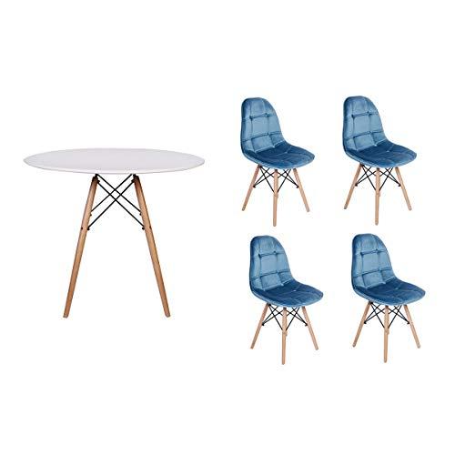 Kit Mesa Jantar Eiffel 100cm Branca + 04 Cadeiras Botonê Veludo - Turquesa
