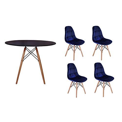 Kit Mesa Jantar Eiffel 100cm Preta + 04 Cadeiras Botonê Veludo - Azul Marinho