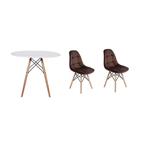 Kit Mesa Jantar Eiffel 90cm Branca + 02 Cadeiras Botonê Veludo - Marrom