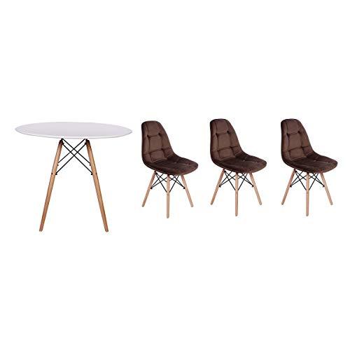 Kit Mesa Jantar Eiffel 90cm Branca + 03 Cadeiras Botonê Veludo - Marrom