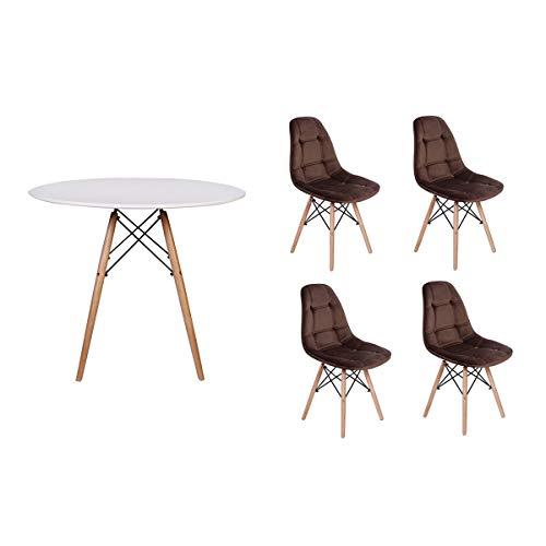 Kit Mesa Jantar Eiffel 90cm Branca + 04 Cadeiras Botonê Veludo - Marrom