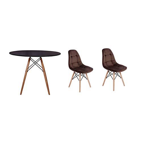 Kit Mesa Jantar Eiffel 90cm Preta + 02 Cadeiras Botonê Veludo - Marrom