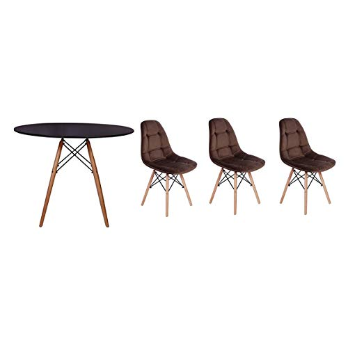 Kit Mesa Jantar Eiffel 90cm Preta + 03 Cadeiras Botonê Veludo - Marrom