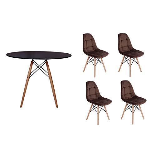 Kit Mesa Jantar Eiffel 90cm Preta + 04 Cadeiras Botonê Veludo - Marrom