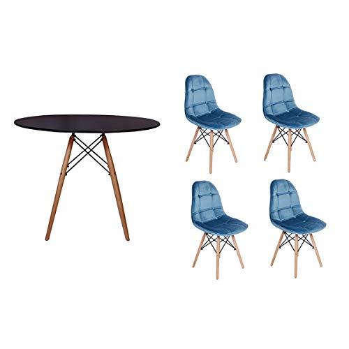 Kit Mesa Jantar Eiffel 90cm Preta + 04 Cadeiras Botonê Veludo - Turquesa