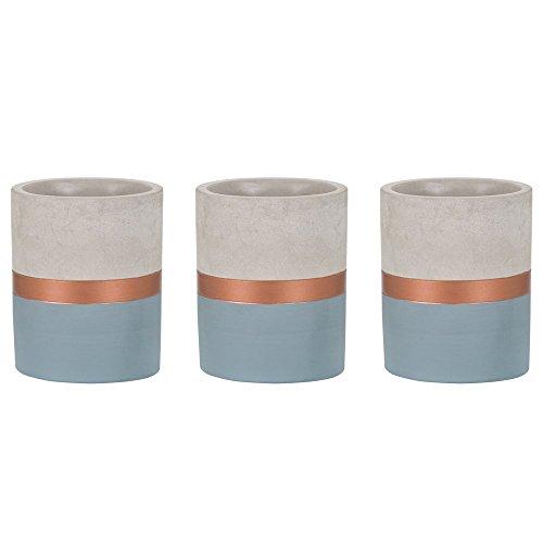 Kit Vaso Azul E Cobreem Cimento - 3 Peças Mart Azul/cobre