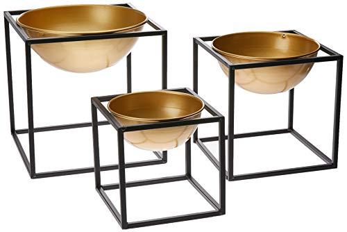 Kit Vaso em Metal com Suporte 3 Peças, Mart, Dourado, Mart Collection