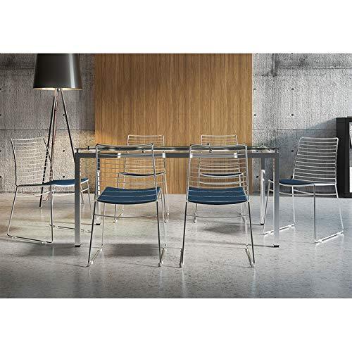 Mesa 328 Vidro Incolor Cromada com 6 Cadeiras 1712 Azul Noturno Carraro