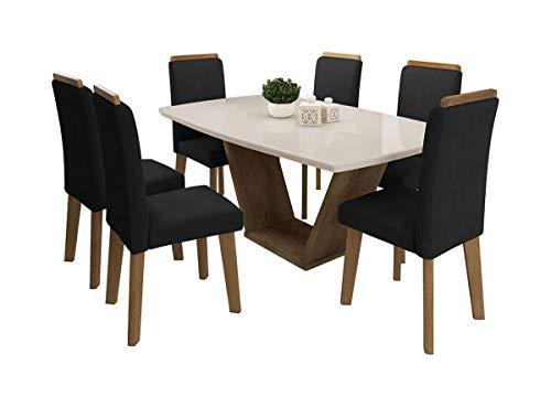 Mesa de Jantar Diamante com 6 Cadeiras Off White com Suede Preto - RV Móveis