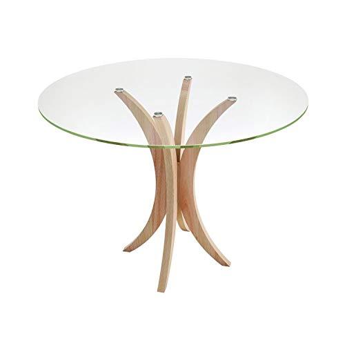 Mesa de Jantar Redonda 4 Lugares Madeira Maciça com Tampo de Vidro Rima Madebal Natural/Incolor