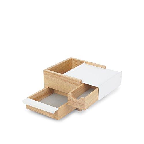 Mini Porta Joias Caixa Organizadora Stowit Madeira Branco Umbra