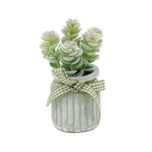 Mini Vaso Cerâmica Little Flowers Sucullent Urban Branco Cimento