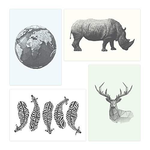 Placas Decorativas Animais Safari Geométrico 30x40cm Kit 4un