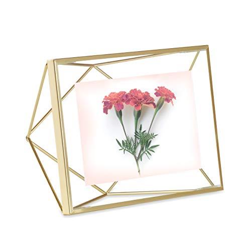 Porta Retrato Prisma 4 X 6 Em Aço Umbra Dourado