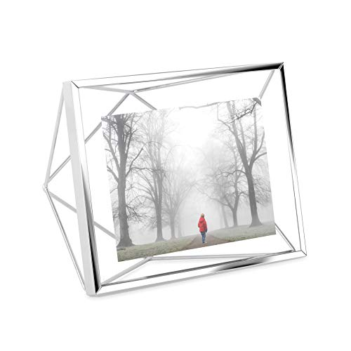 Porta Retrato Prisma Em Aço Umbra Cromo