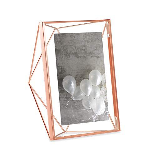 Porta Retrato Prisma Tamanho 13x18 Cor Rosado Em Aço Umbra Cobre