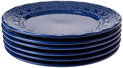 Porto Brasil Conjunto Com 6 Pratos Raso Madeleine Azul Navy