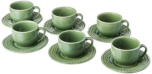 Porto Brasil Conjunto Com 6 Xícaras De Chá C/ 6 Pires Madeleine Verde Sálvia