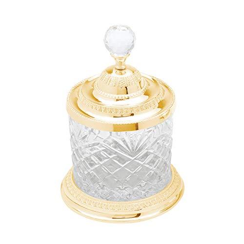 Pote Multiuso De Zamac Cristal Dourado 10,5x16,5cm Lyor Transparente E Dourado