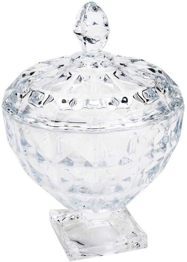 Potiche Decorativo De Cristal De Chumbo C/pé E Tampa Diamant 17,5x24cm Wolff Adamant Transparente No Voltagev