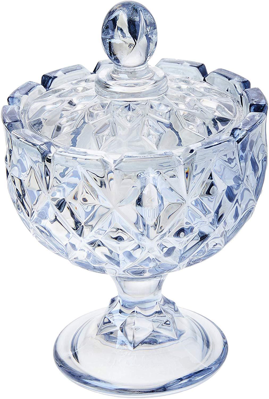 Potiche Decorativo De Cristal De Chumbo C/tampa Crown Azul 9x14cm Wolff Queen Azul No Voltagev