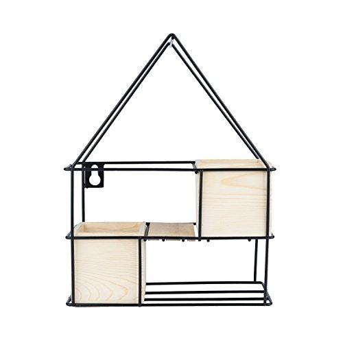Prateleira Metal/madeira C/Cachepot House Preto 24, 5 X 9 X 32 Cm Urban Preto