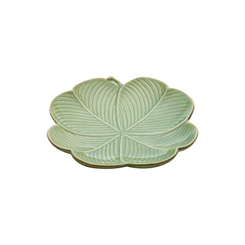 Prato Decorativo De Cerâmica Banana Leaf Verde 20x20x3cm Lyor Verde Único
