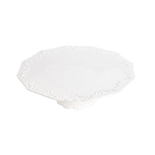 Prato para Bolo com Base de Porcelana Alto Rojemac Branco