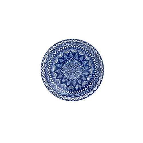 Prato P/sobremesa De Cerâmica Mandala Azul E Branco 19cm Lyor Azul E Branco Único
